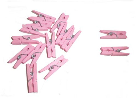 "1"" Wood Openable Mini Baby Cloth Pins pink(144 Pieces)"