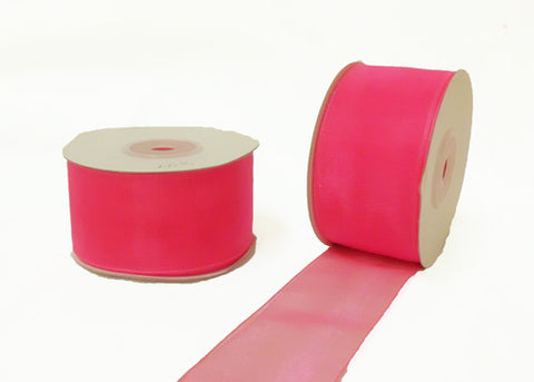 "1-1/2"" Sheer Organza Ribbon Hot Pink 25 Yards"
