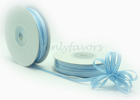 "1/4"" X 25Yard Gingham Pull Bow Ribbon Blue"