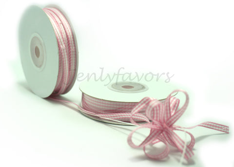 "1/4"" X 25Yard Gingham Pull Bow Ribbon Pink"