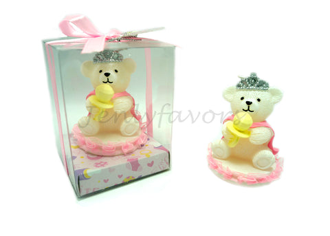 Princess Baby Bear with Tiara Candle - Baby Shower Favor - 12 pieces