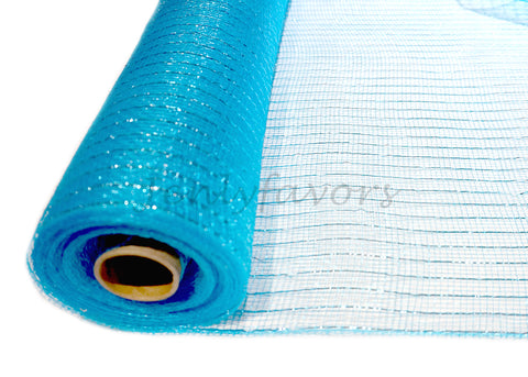 "21"" X 10 Yards Decorating Laser Mesh Metallic Turquoise  (1 Roll)"