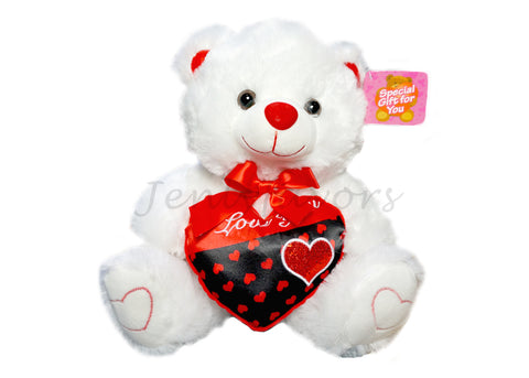 "12"" White Singing Bear with Red Heart Saying ""I LOVE YOU""(12pcs)"