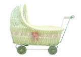 11 1/2'' Wicker Baby Girl Carriage - Baby Shower Centerpiece 1 Piece