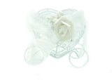 White Metal Heart Shaped Carriage Favor Box ( 12 Pieces)