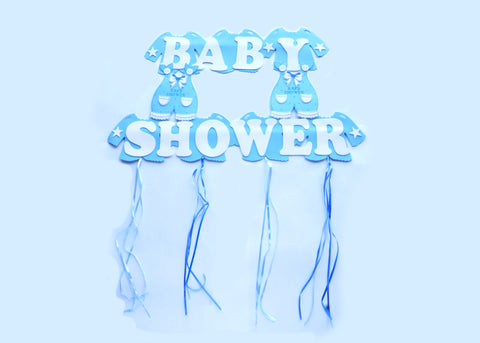 Giant Blue Overall Baby-Shower Foam Banner - 1 piece