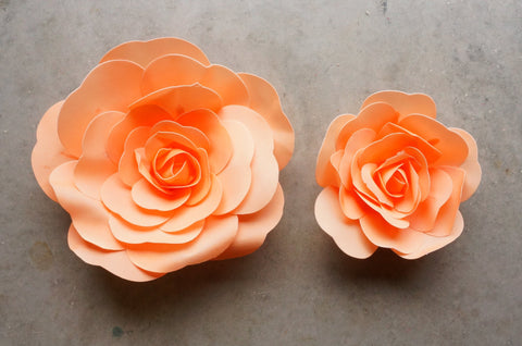 "12"" & 16"" Foam Backdrop Flowers for Beautiful Room Wall Decoration Peach (2 Pieces)"