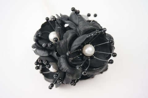 Organza and Satin Flower with Pearl Spray Black (72 Flowers) 2