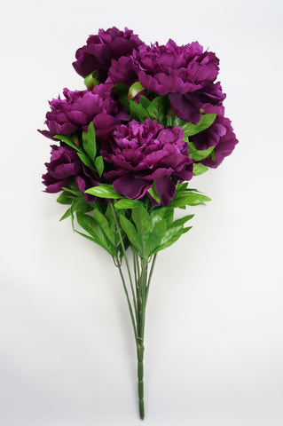 25 Inch Artificial Peony Silk Flower Bush 9 Heads Violet