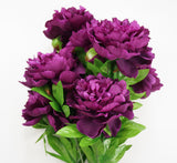 25 Inch Artificial Peony Silk Flower Bush 9 Heads Violet2