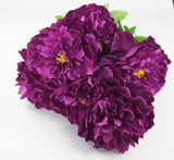 25 Inch Artificial Peony Silk Flower Bush 9 Heads Violet3