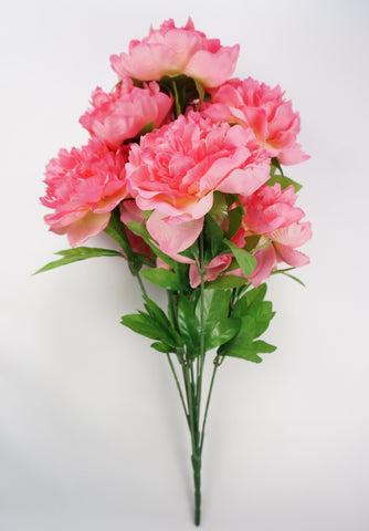 25 Inch Artificial Peony Silk Flower Bush 9 Heads Pink