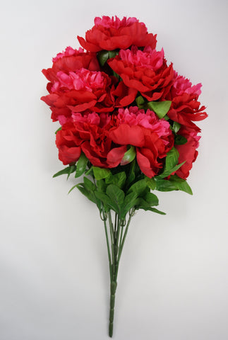 25 Inch Artificial Peony Silk Flower Bush 9 Heads Red With Beauty