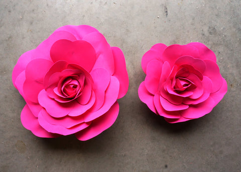 "12"" & 16"" Foam Backdrop Flowers for Beautiful Room Wall Decoration Hot Pink (2 Pieces)"