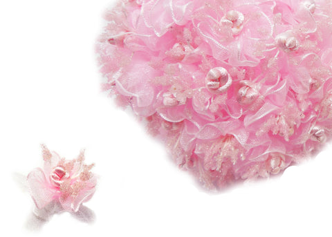 Pink Organza & Satin Rose Bud (120 Flowers)