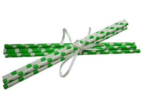 Polka Dot Paper Straws - Lime Green 10pcs