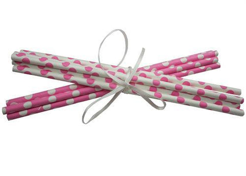Polka Dot Paper Straws - Hot Pink 10pc