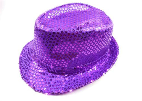 Light-Up Fedora Hat with 6 Lights- Purple