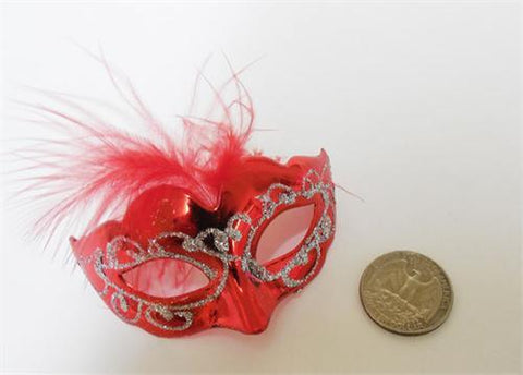 "3"" Mini Venetian Mask with Feather Red (12 Pieces)"