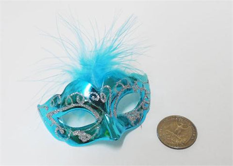 "3"" Mini Venetian Mask with Feather Turquoise (12 Pieces)"