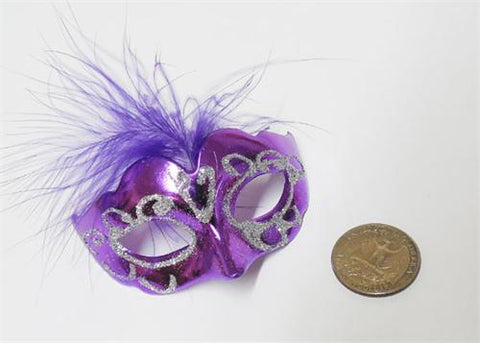 "3"" Mini Silver Glitter Venetian Mask with Feather Purple (12 Pieces)"