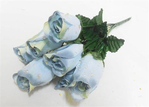 7 Heads Williamsburm Blue Artificial Closed Rose Bush (12 Bushes)