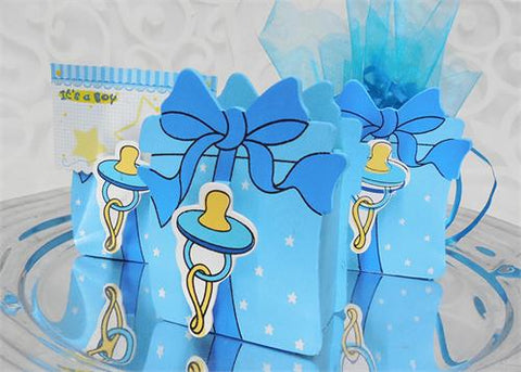 Blue Wooden Baby Shower Favor Box with Pacifier(12 Pieces)