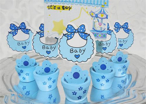 Blue Wooden Baby Shower Card Holder Pot with Baby Bib(12 Pieces)