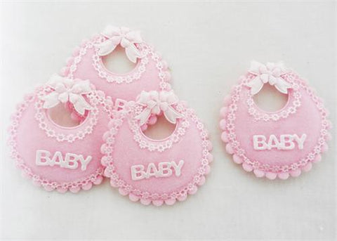 Baby Shower Decoration Cotton Baby Bib Pink (12 pieces)