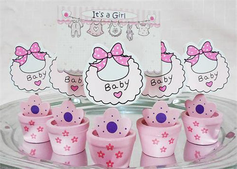 Pink Wooden baby Shower Card Holder Pot with Baby Bib(12 Pieces)
