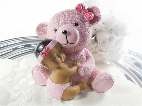 Centerpiece Ethnic Baby with Teddy Bear - Pink