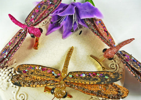 Glitter Decorative Artificial Dragonflies (12 assorted pieces)