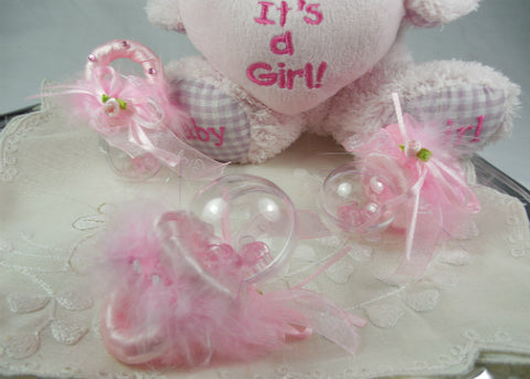 Baby Pacifier Rattle Favors Pink( 12 Pieces )