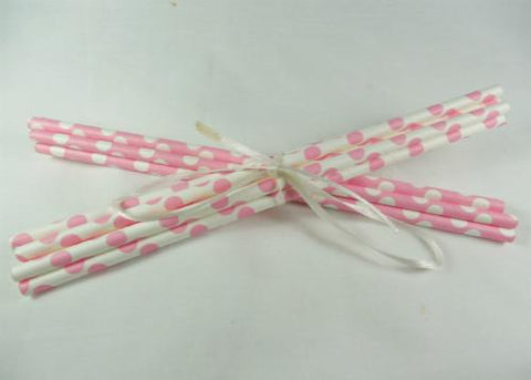 Polka Dot Paper Straws - Light Pink 10pc