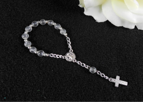 "5"" 6MM Round Glass Beads Rosary Clear/Silver (12 Pieces)"