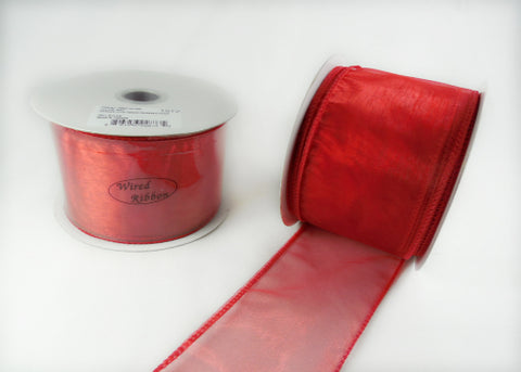 "2-1/2"" Organza Wired Ribbon Red 10 Yards"
