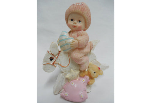 Pink Polyresin White Baby Girl Riding Horse - 12 Pieces