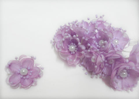 Organza and Satin Flower with Pearl Spray Lavender (72 Flowers)