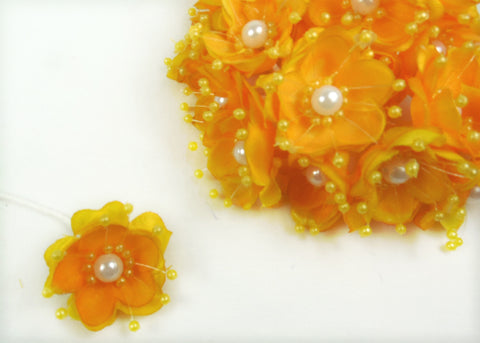 Organza and Satin Flower with Pearl Spray Yellow (72 Flowers)