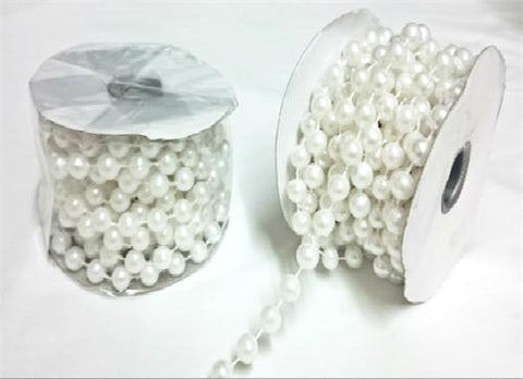 White Plastic Pearl Spool Bead Garlands 10mm x 6yards