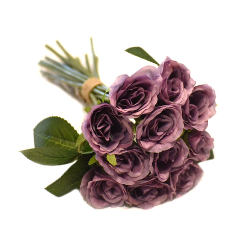Rose Silk Flower Wedding Bridal Bouquet Dusty Lavender