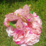 Handmade Artificial Decorative Butterfly With Clip Pink (12 pieces)