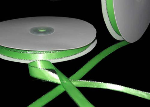 "3/8"" Double Face Satin Ribbon with Silver Edge Apple Green 50 Yards"