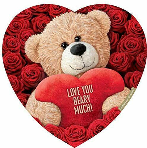 Elmer Valentines Chocolate 12oz Teddy Bear Heart Shaped Box (6 boxes)
