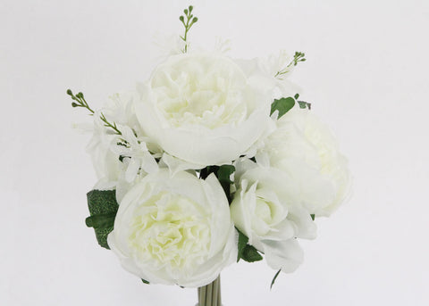 English Rose Silk Flower Bouquet Cream