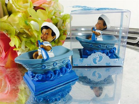 Ethnic Baby Sailor on Boat - Baby Shower Favor Blue - 12 pcs