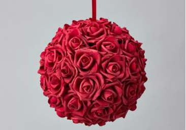 "Foam Rose Pomander Flower Kissing Ball 10"" Red"