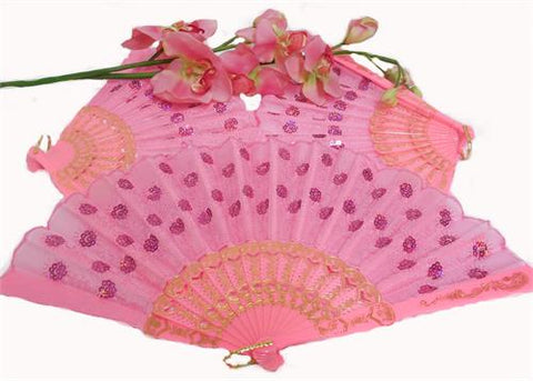 Pink Cloth Hand Fans with  Plastic Handle  (10 pcs)