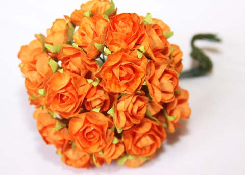 Fiesta Orange Miniature Paper Flowers(120 Flowers)