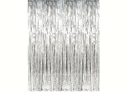 Sliver Metallic Foil Party Tassel Curtain Fringe Wall Decoration Hanging 3'x 8'
